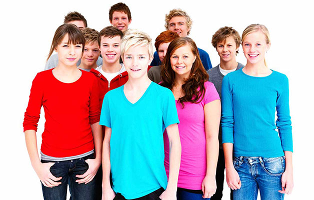 Young teens gathered together
