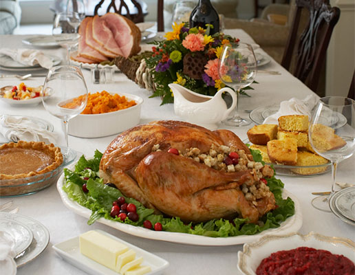 Holiday dinner table setting